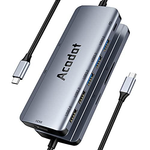 Acodot 9-in-1 USB C Hub Multiport Adapter, 5 USB Anschlüsse, mit 4K HDMI, 100W PD-Stromversorgung, SD/TF Kartenleser kompatibel, Unterstützt OTG für MacBook Pro / Air, Huawei MateBook, Ipad Pro, XPS