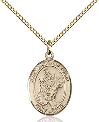Patron Saints by Bliss 14K Gold Filled Saint Martin of Tours Medal Pendant, 3/4 Inch