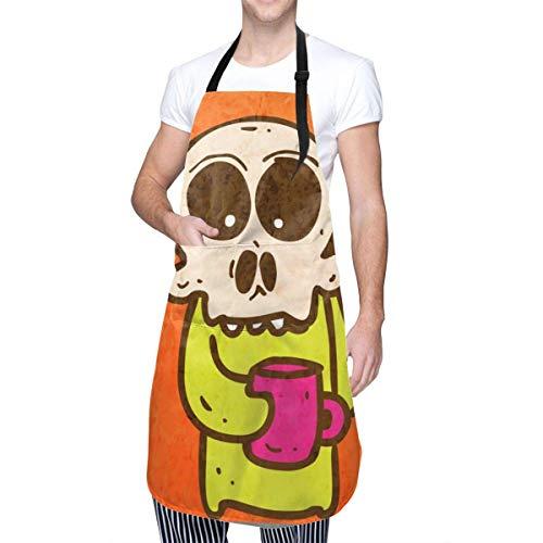 Lawenp Skelett mit Kaffeeschürze Kochschürze Wasserdicht verstellbare Küchenschürze Cartoon Backschürze für Frauen Männer