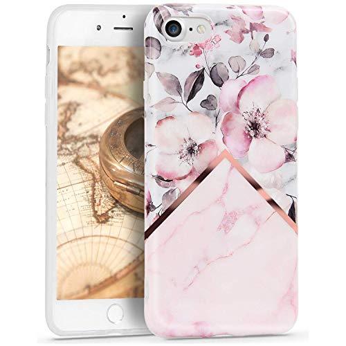 Oihxse Nuevo Flores Case Compatible con iPhone 11 Pro MAX Funda Marmol Silicona Gel Enchapado TPU Anti-Rasguño Protección Cáscara Lindo Rose Ultra Delgado Cover Caja Bumper (A17)
