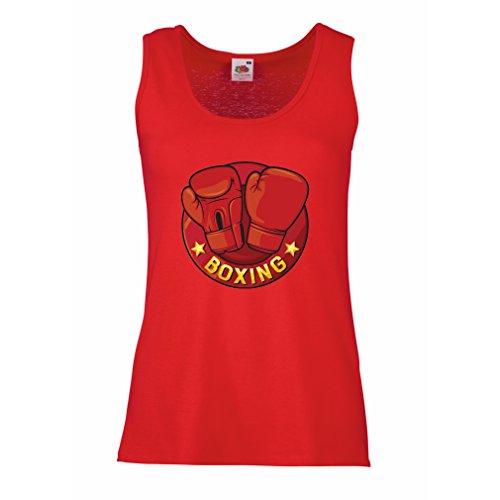 lepni.me Camisetas sin Mangas para Mujer Boxeo - MMA, Kickboxing, Guantes de la Caja (Small Rojo Multicolor)