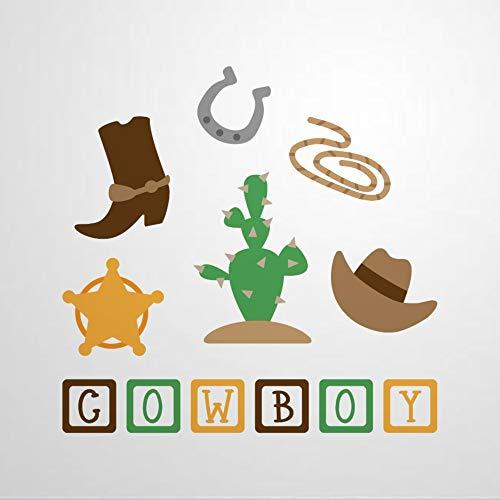 Cowboy-Wandaufkleber, Westernschuhe und Hut, Vinyl-Wandaufkleber, Dekoration für Fenster, Wohnzimmer, Stoßstange, Laptop, Becher, Badezimmer, Heimdekoration