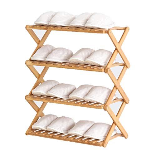 Schoenenrekken meerlagige eenvoudige vrije installatie vouwbaar bamboe schoenenkast huisingang opslagrek