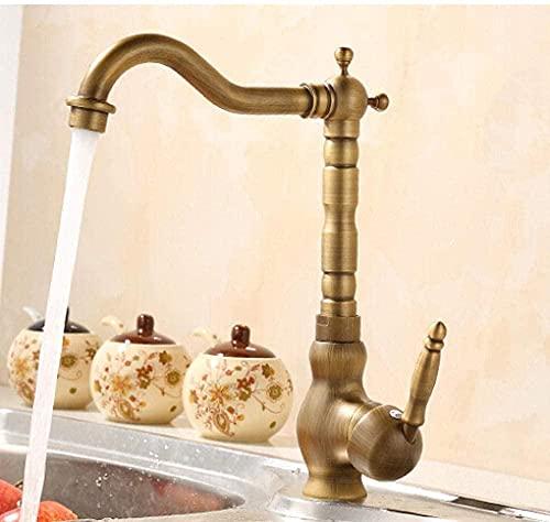Grifo de cocina de estilo retro europeo y superficie cepillada de bronce Grifo de lavabo de baño por grifo mezclador de agua de cuerpo de latón
