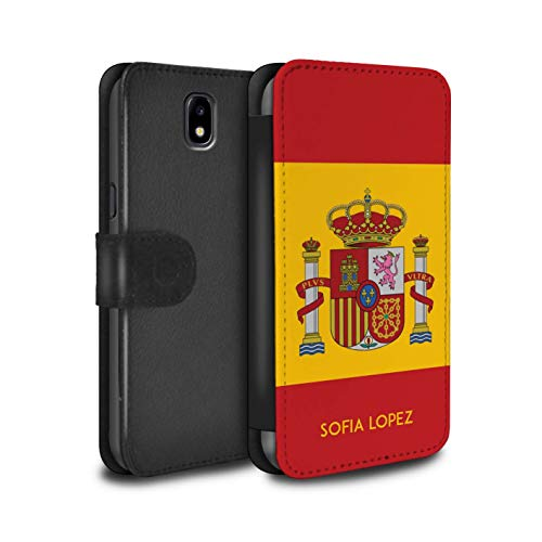 Personalizado Bandera Nacional Nación Personalizar Funda PU Cuero para el Samsung Galaxy J5 2017/J530 / Español/De/España Diseño/Inicial/Nombre/Texto Carcasa/Estuche/Case