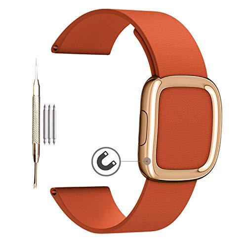 MaKTech 20 mm oro rosa hebilla magnética cuero pulsera compatible con Samsung Galaxy Watch 3 41 mm/Galaxy Watch 42 mm/Galaxy Watch Active 2 40 mm 44 mm (naranja)
