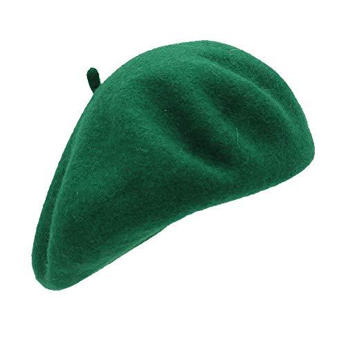 Umeepar Sombrero francés de lana de boina sombrero de invierno de color sólido para las mujeres, verde, Talla única