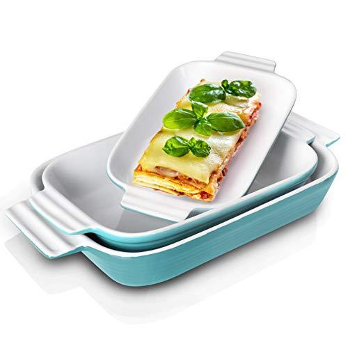 Inmorven Baking Dish, Casserole Dish Rectangular Porcelain Bakeware Set, Ceramic Lasagna Pans Set of 3 for Cooking, Cake Dinner, Kitchen, Banquet and Daily Use, 10.6' x 7.9'(Turquoise)