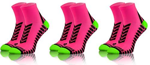 Sesto Senso Calcetines Deporte Colores Cortos Algodón Hombre Mujer 3 Pares 39-42 Pink