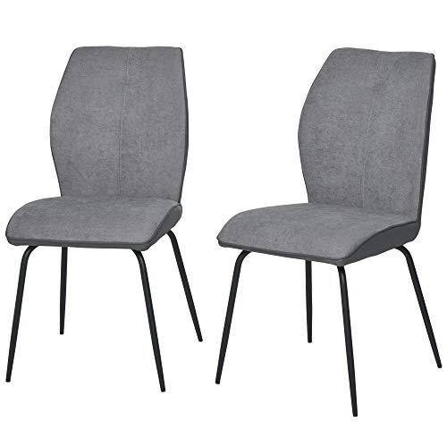 HOMCOM Esszimmerstühle 2er Set Küchenstuhl Wohnzimmerstuhl BürostuhlSchaumstoff Linen PU Grau 44x60x90 cm