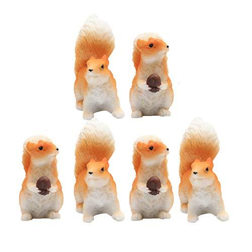 Doitool Mini-Figuren aus Kunstharz, Eichhörnchen, Statue, Skulptur, Miniatur-Tischdekoration, Kuchenaufsatz für Puppenhaus, Feengarten, Landschaft, Auto, Armaturenbrett, Dekoration, 6 Stück