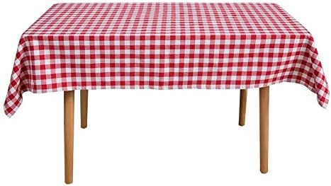 48x44 withprinted pinkish flowers pinkwhite gingham Table cloth no holes