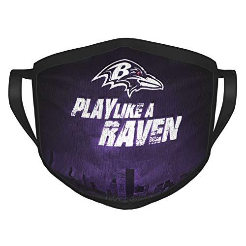 Custom made Baltimore Ravens Unisex Gesichtsmaske Bandanas Schal Wiederverwendbare Atmungsaktiv mit Austauschbaren Filter Anti UV/Nebel/Wind Outdoor Kinder Schwarz
