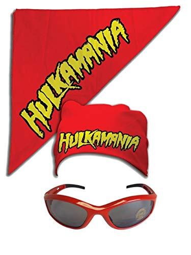 Hulk Hogan Hulkamania Bandana Sunglasses Costume -Red-Red