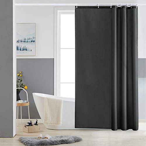 Furlinic Duschvorhang 120x180 Textil Badvorhang aus Polyester Stoff Schimmelresistent Wasserabweisend Waschbar Dunkelgrau mit 8 Duschvorhangringen.