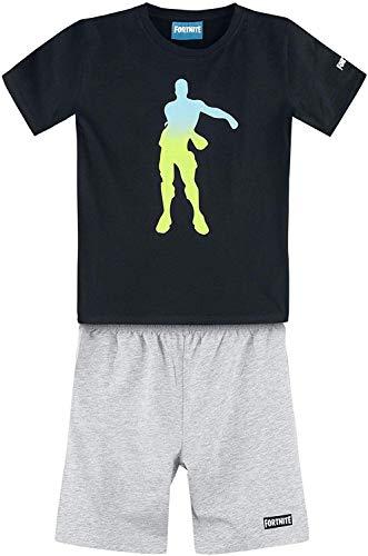 FORTNITE Pyjama Schlafanzug Jungen + Mädchen Jugendliche schwarz-grau meliert 12 Jahre GR.152