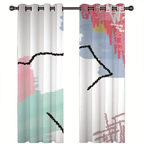 DOORWD 2 Paneles de Cortinas Blackout con Aislamiento Térmico Impresión y teñido de Acuarela 280x250cm Cortinas de Ventana Estampadas con Ojales