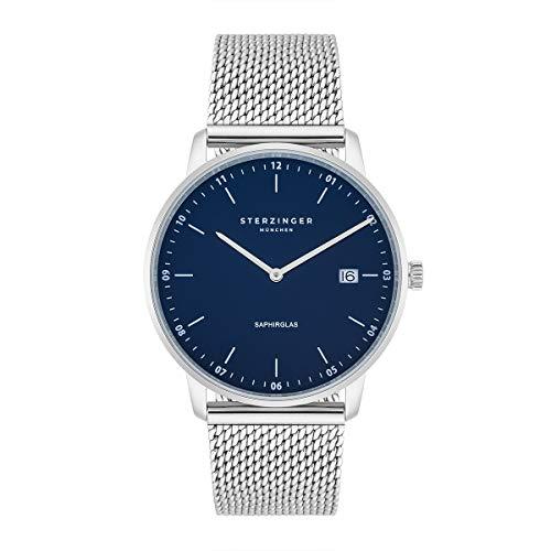 Sterzinger München Herren-Uhr analog Ronda-Uhrwerk mit Edelstahl-Armband Milanaise Silber Saphirglas 10040038