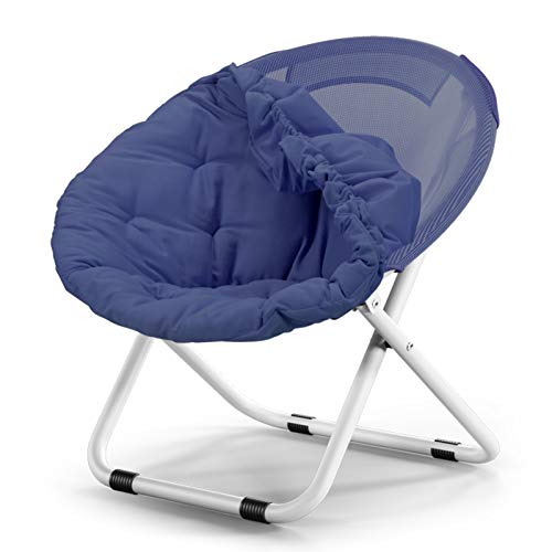 silla HAIYU Ocio Plegable Ordenador con Asiento/Respaldo Tapizado, Sillón Moderno Reclinable Moon para el Hogar y la Oficina, Soporte 150 kg(Color:Azul)