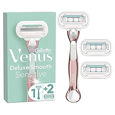 Gillette Venus Deluxe Smooth Sensitive Women's Razor with Rose Gold Metal Handle + 2 Refill Blades