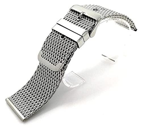 Beapet Correa de muñeca de Banda de Banda de Reloj de Acero 18 mm 20 mm 22 mm 24 mm Universal Acero Inoxidable Reloj de Acero Inoxidable Pulsera Cinturón de Hebilla (Color : Silver, Size : 18mm)
