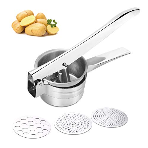 Potato RicerBaby Food Fruit and Vegetables Masher FoodGrade Stainless Steel with 3 Removable and Interchangeable Discs Easy to Clean