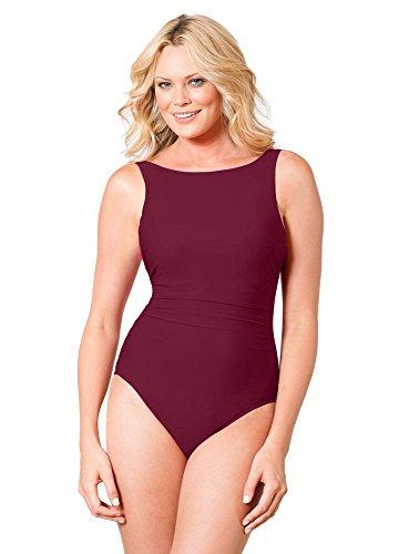 Miraclesuit Women's Swimwear DD-Cup Solid Regatta Tummy Control High Neckline Underwire One Piece Swimsuit, Pompei, 14DD