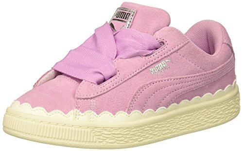 PUMA Unisex-Child Suede Heart Rubberized Sneaker, Orchid-Whisper White, 1 M US Little Kid