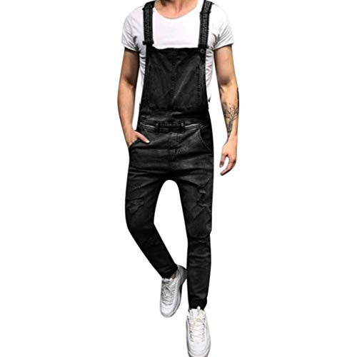 Latzhose Herren Jeans Blau,Dasongff Jeanslatzhose,Männer Stonewash Destroyed Arbeitshosen,Mode Overalls Jumpsuit,Men Lang Skinny Fit S-2XL