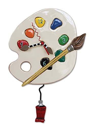 Allen Designs 'Art Time' Whimsical Artist Palette Pendulum Wall Clock ,13x8.5 inches ,White, Red