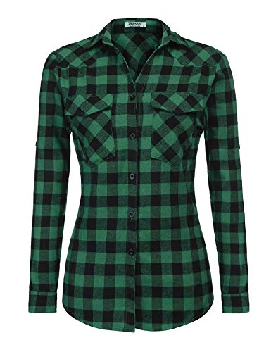Zeagoo Womens Tartan Plaid Flannel Shirts, Roll up Sleeve Casual Boyfriend Button Down Gingham Checkered Shirt,Green,XX-Large