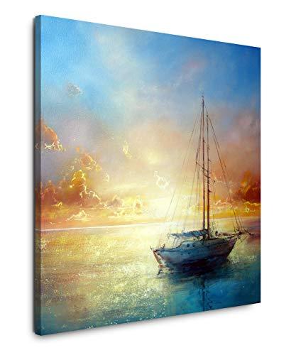 EAUZONE GmbH Malerei mit Segelboot 60x60cm Wandbild auf Leinwand, Kunstdruck Moderne Bilder