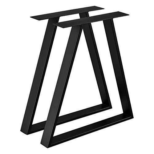 [en.casa] 2X Tischgestell 70x10x72 cm im 2er Set Metallgestell Stahl Schwarz