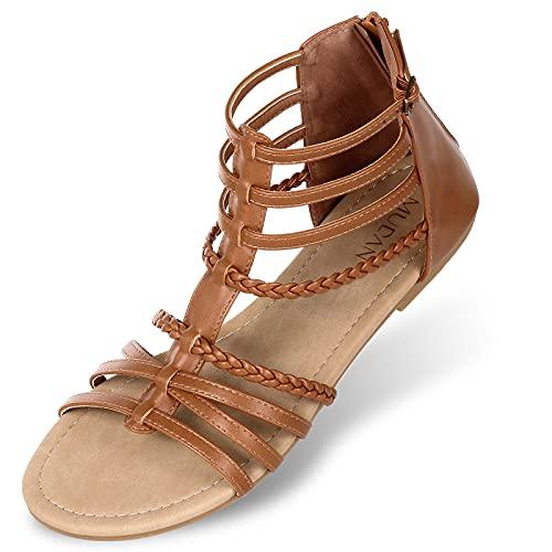 MUDAN Womens Buckle Zip Thong Gladiator Sandal (9 B(M) US, Chestnut)