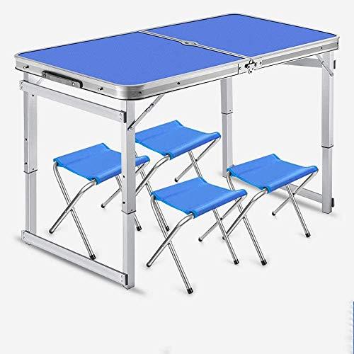 VIVOCC Tabla pequeña Plegable de 4 Personas con sillas para Acampar, Altura Ajustable de Aluminio portátil, Mesa al Aire Libre para Picnic, Barbacoa, Playa, Fiesta, Viajar t (Color : Azul)