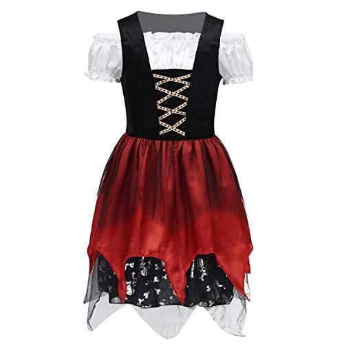 FEESHOW Kinder Mädchen Deluxe Piratinkostüm Cosplay Halloween Outfit Prinzessin Tutu Kleid mit Puffärmel Kinderkostüm Pirat für Fasching Karneval Schwarz&Rot Schwarz & Rot 98-104/3-4 Jahre