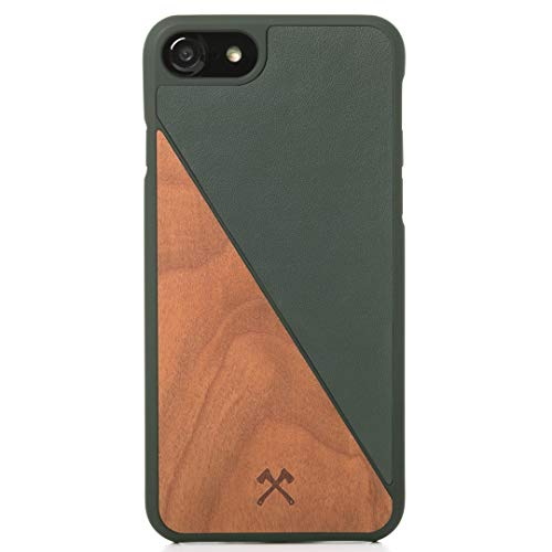 Woodcessories - Real Wood Case Compatible with iPhone SE (2020) / 8/7, EcoCase Split (Cherry/Green)