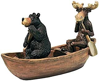 Madison Collection Moose & Black Bear in A Boat Statue