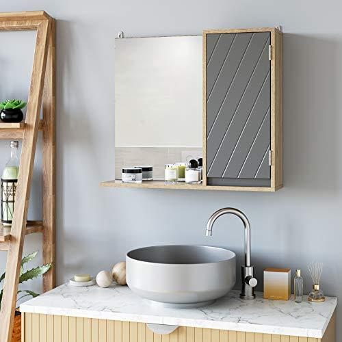 HOMECHO Bathroom Mirror Cabinet, Wall Mounted Medicine Cabinet, Wood Hanging Mirror Cabinet with Door and Adjustable Shelf, 22.4
