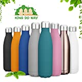 king do way Insulated Stainless Steel Water Vacuum Bottle Double-walled for Outdoor Sports Hiking Running, 500ml/17 oz (Black)