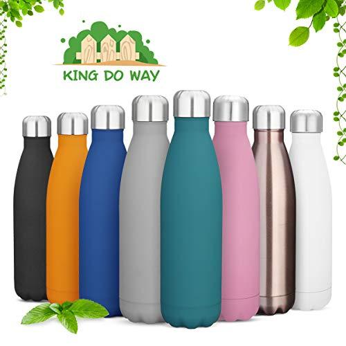 king do way Doppelwandige Edelstahl Trinkflasche Thermosflasche Sportflasche, Trinkflaschen Wasserflasche Reisebecher 500ml BPA frei für Trinkflasche Kinder, Camping, Wandern, Reisen (Rose Gold)