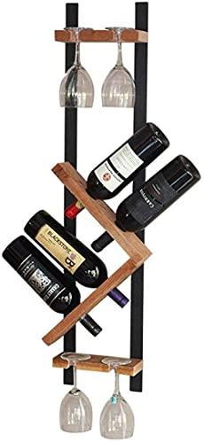 wikkeny Titular de Vino Muro de Madera sólido Colgante de Vino Simple Metal Pared Colgante Botella de Vino Tetera de Botella de Vino Puede alojar 4 Botellas Organizador de Almacenamiento de Vino