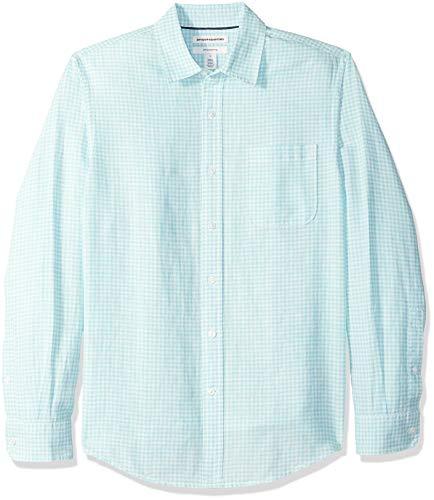 Amazon Essentials - Camisa de lino con manga larga, corte entallado y estampado para hombre, aguamarina (Aqua Gingham), US XXL (EU XXXL - 4XL)