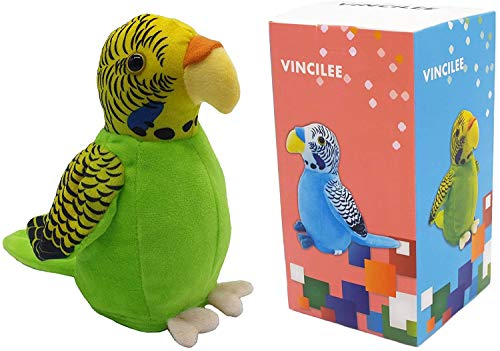 Vincilee Cute Mimicry Pet Talking Parrot Repeats What You Say Plush Animal Toy Electronic Parrot for Boy and Girl Gift,Talking Parrot pet Christmas Toy Speak Sound Record Parrot3.5 x 7 inches( Green )