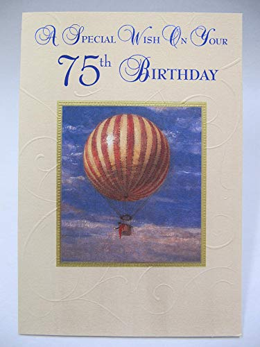 HALLMARK WONDERFUL COLOURFUL HOT AIR BALLOON 75TH BIRTHDAY GREETING CARD
