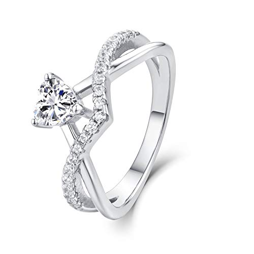 Starchenie Anillos Mujer Plata 925 Anillos Compromiso Aniversario Amor Corazón Shape con 0.5ct Corazón 5A Cubic Zirconia Birtstone con Caja de Regalo para Mujer