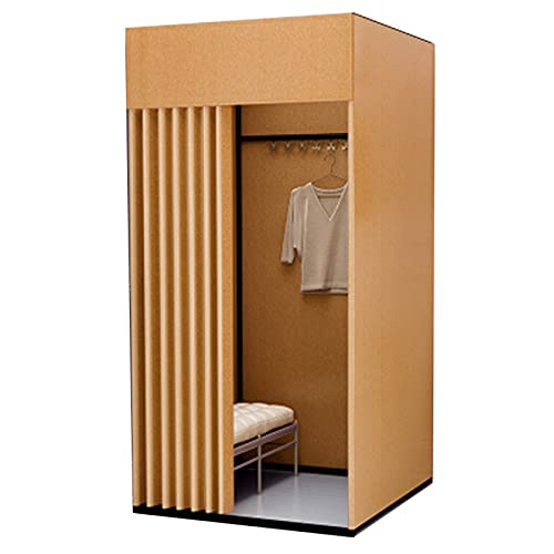 SHIJINHAO Portable Locker Room, Occlude Cut Off Privacy Protection Mobile Changing Room Bold Metal Bracket Can Be Used In Clothing Stores Offices Dormitories (Color : Gold, Size : 100x100x200cm)