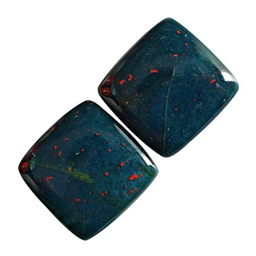 Par de piedras preciosas de sangre natural, cabujón, piedra preciosa verde roja, piedra preciosa suelta, tamaño 15 x 15 x 4 mm, fabricación de joyas, 24308