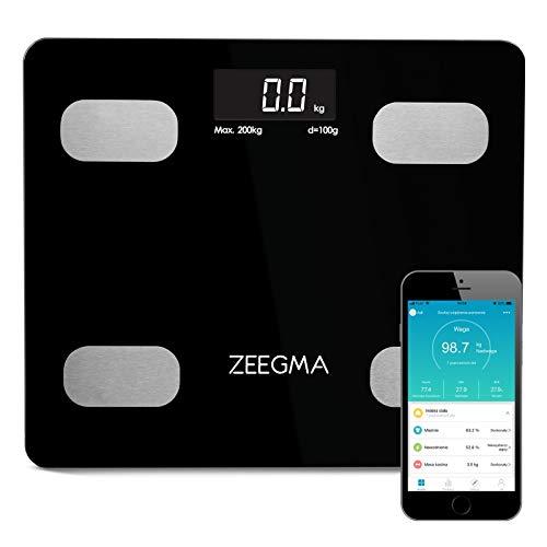 ZEEGMA Gewit Personenwaage Waage mit Körperfett Personenwaage Digital Analyse von bis zu 17 Körperparametern präzise Messung LCD Gewichtsmessbereich bis zu 200 kg (Schwarz)