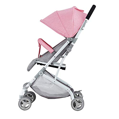 WJY Cart,Dining Car Medical Cart Diner Baby Stroller Stroller Light Mini Ultra Small Can Sit Lie Baby Stroller Child Shock Absorber Can Be on the Plane Baby Cart,Pink